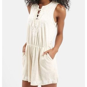 TOPSHOP LACE FRONT EMBROIDERED ROMPER SIZE 8 cream